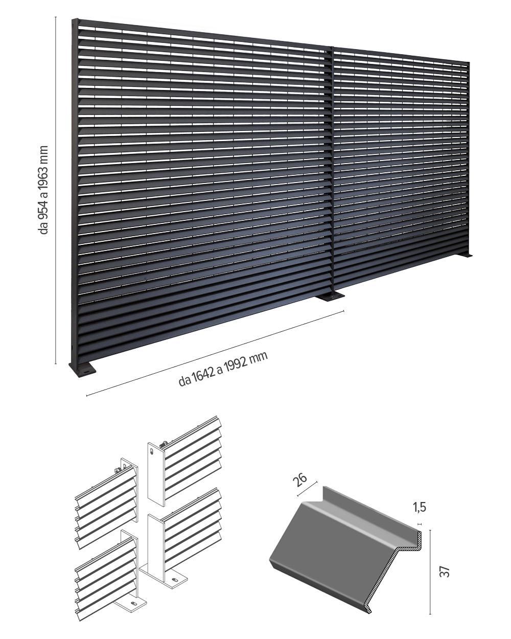 Talia ventus - info tecniche su recinzione a lamelle