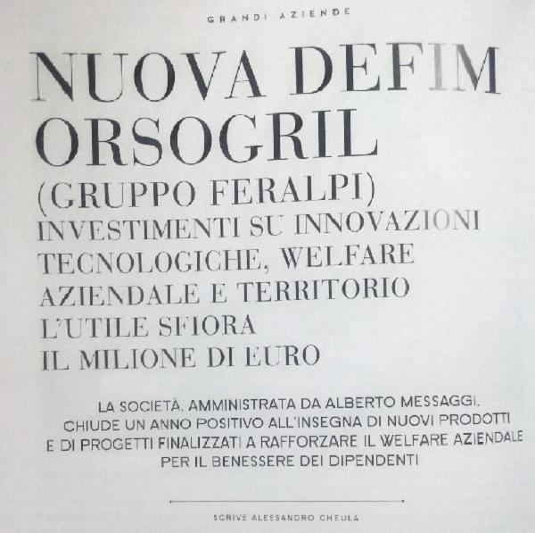 Nuova Defim Orsogril: investimenti, innovazioni, welfare